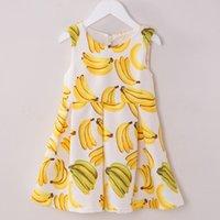Cheap Summer Autumn Design Cute Banana Fruits 100-160 Girls Dress Sleeveless Children Princess Vintage Dressy Girl Dresses Clothes K7912