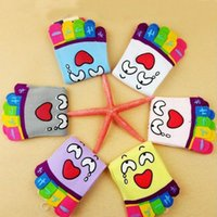 Wholesale Wholesalwomens novelty funny cute cartoon emoji cotton cozy colorful five toe full Grip socks ladies ankle length tube socks calcetines meia