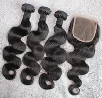 Wholesale weaves closures weaves with pc lace closure free style Burmese Cambodian Vietnamese Malaysian hair body wave hair extensions
