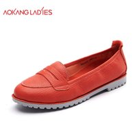 aokang shoes - AOKANG New Arrival Women Flats shoes Brand Women shoes Women Genuine Leather shoes Many Colors Available