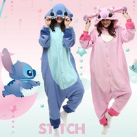 Wholesale Hot Anime Stitch Onesie Kigurumi Fancy Dress cosplay Costume Hoody Pajamas Sleepwear Size S M L XL