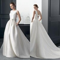 Wholesale Ball Gown Bateau White Satin Bow Floor Length Sweep Train Detachable Train Elegant Concise Wedding Gown Wedding Dress