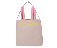 Wholesale 10pcs Newest Cotton Burlap Easter Gift bag Tote Jute Easter Bunny bags With Bunny Ears Easter Baskets
