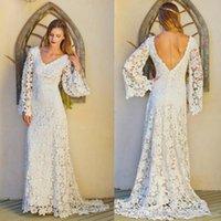 Wholesale Bohemian Full Lace Wedding Dresses Long Sleeves V Neck Sexy Backless Summer Beach Bridal Gowns Custom Made Boho Bridal Wedding Dress