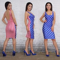 american flag dress - night club American flag dress above knee tank women summere dresses sexy backless dress summer