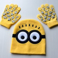Wholesale Despicable Me Minions spider man baby boy girl cap and glove minion brand children knitted yellow warm hat glove Christmas gift Free DHL k01