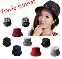 Wholesale Unisex Bucket Hat Boonie Flat Hunting Fishing Outdoor Beach Cap Women Men Sunhat Summer Spring Boys Girls Resort Camping Visor Hats ZJ H01