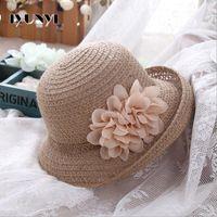 Wholesale IYUNYI Straw Summer Hat Lady Bohemia Style Women Beach Hats Pretty Ruffle Flower Side Flip Bucket Sun Beach Hat For Tea Party