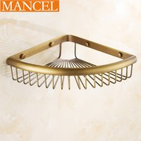 bath wall shelves - MANCEL All Copper Corner Bathroom Shelves Bath Shampoo Towel Basket Rack Wall Mounted Bathroom Accessories