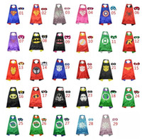 Wholesale 2016 cape Double Side kids Superhero Cape Super hero Ninja Turtles Batman Spiderman Captain America Supergirl kids cape in stock with mask