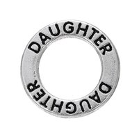 affirmation charms - Myshape Antique silver plated Affirmation charms Engravesd Letter DAUGHTER circle charms family jewelry Gift for girls