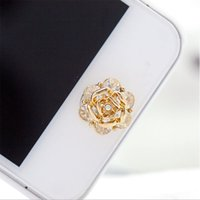 beautiful iphone ipad - Super Beautiful Crown D Silver Diamond Crystal Home Button Sticker For iPhone s Apple Ipad
