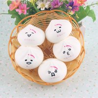 Wholesale New white Expression steamed stuffed bun color Face Squishy food Charm mobile Squishies packages accessories