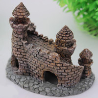 Wholesale Aquarium Castle Ornament Castle Tower Fish Tank House Shrimp Cave Craft Decor for Aquarium decoration in aquariums acuario order lt no track