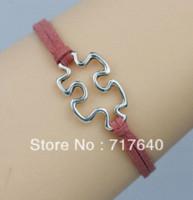 autism awareness colors - 6pcs Min Order Silver Charm Puzzle Bracelet Autism Awareness Bracelet Friendship Bracelet Colors Available