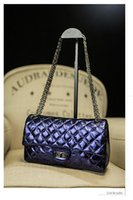 Wholesale New Women s Fashion Shoulder Bags Autumn Winter Plaid Chain Real Cow Leather Ladys OL Designer Totes Bag Luxury Evening Bag Blue