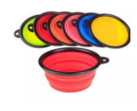 Wholesale 8 colors Pet Dog bowl Floding Silicone Frisbee Collapsible Feeding Water Feeder Travel Bowl Dish Cats bowl Dog Supplies D627