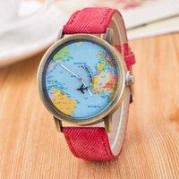 Cheap Students' Leisure Canvas denim vine watch bronze watch strap watch watch the plane around the world map