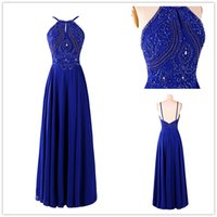 beauty events - Beauty Royal Blue Long Chiffon Prom Dresses Halter Top Crystal Prom Dress Floor Length Sheath Backless Evening Gowns Women Events Party Gown