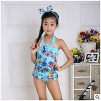 Wholesale 2016 new girls swimwear Korean children dress piece swimsuit cartoon girl girls Bikinis kids swim children cute princess swimwear DHL free