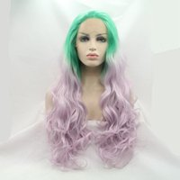 Cheap High Quality 70cm Green Purple Lace Front Wig Ombre Heat Resistant Synthetic Long Wavy Hair For Costume Party wigs