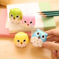 Wholesale Pics Candy Color Cute Owl Kawaii Professional Pencil Sharpener Stationary Cute For School Office Supplies Kids Student