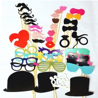 Wholesale CCINEE44PCS Wedding Photo Booth DIY Mask Photo Booth Props Heart Hat Glasses Mustache Lip On A Stick For Wedding Party Supplies