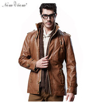 Wholesale Fall Winter Leather Jacket Men Thick Fur Long Trench Coat With Belt Male Fashion PU Leather Motorcycle Jacket Chaqueta Hombre
