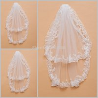 Wholesale High Quality Wedding Veils Lace Edge Two Layer With Comb Tulle Bridal Veils White In Stock