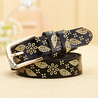 Wholesale Lady Jeans Belt - hot sale high quality Leather casual chic fashion decorative designer jeans flower embossed woman lady belt