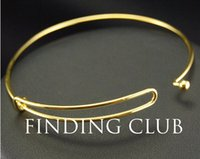 Cheap Hot!!!!! 20pcs Gold plated Copper Expandable Adjustable Fashion Jewelry Wiring Bangle Bracelet For Charms BA-10