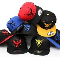 Wholesale Poke Snapbacks Caps Poke Ball BaseBall Caps Sports Hip Hop Pikachu Mesh baseball Sports Caps Casual Pocket Sun Hats Hip Hop Hats KKA699