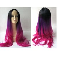 Wholesale Full Head Black Purple Fuchsia Color Ombre Wig Woman Long Wavy Gradient Colored Heat Resistant Synthetic Hair Cosplay Wig