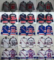 61 - New Cheap Hockey jerseys NY Rangers LUNDQVIST ZUCCARELLO NASH Jersey Drop shipping freeshipping
