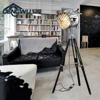 Wholesale Industrial Bar Nordic American Creative Studio Retro silver and golden Floor Lights Tripod Searchlight Additional Net Floor Lamp