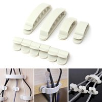 Wholesale 10Pcs Set Household items White Cord Clips Desk Tidy Line Wire USB Charger Cable Holder Viscose Wire Winder Solid Clamp