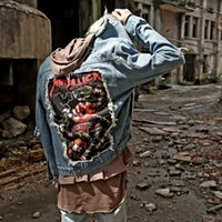 Wholesale 2017 Spring Autumn Mens Jackets New Brand Vintage Denim Patch hole jean jacket bigbang trend jackets plus size