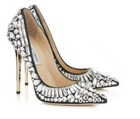 Wholesale 2017 new Luxury Brand Woman s Favorite Shoes High Heels Sexy Pointed Toe Rhinestone Stiletto Heels Slip on Glitter Wedding Shoes