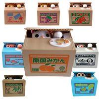 banks springs - Hug Me Cartoon Automated Panda Baboon Pig Dog Itazura Cat Steal Piggy Coin Bank Saving Money Box Coin Bank Kids Gift MC