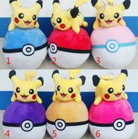 7.2 inch - 7 Inch Poke Ball Pikachu Plush dolls toys EMS cm style children Poke go Pikachu Charmander Plush dolls toy B001