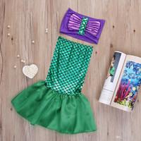 Wholesale 2016 sets Baby Girls Little Mermaid Tails Costume Bikini Swimwear Swimsuit Outfits Dress