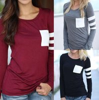Wholesale Fashion Ladies Womens Pocket Long Sleeve Blouse Shirt Tee Tops Ctton Casual Loose T shirt Pullover