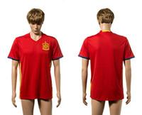 Wholesale Spain Home Soccer Jerseys European Cup Thai Quality Spain Teams Jersey Cheap Soccer Shirts New Soccer Apparel Soccer Uniform