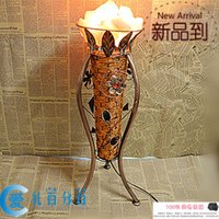 salt crystal lamps - Local shipping authentic S class iron rattan crystal salt crystal lamp bedroom bedside lamp night light Continenta