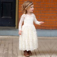 Wholesale 2017 Cheap White Full Lace Flower Girls Dresses Long Sleeves Princess Girl Pageant Gowns Full Length Kids Vintage Communion Dresses MC0366