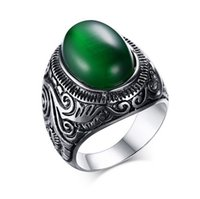 agate sculpture - Hot selling Luxury Vintage titanium steel green cat s eye punk Ring for man sculpture Carbon teel men s rings
