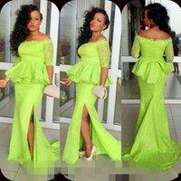 Wholesale 2016 Light Green Lace Sleeves Off Shoulder Peplum Side Slit Arabic Party Formal Prom Evening Gowns Vintage Nigerian South African Dresses