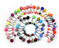 acrylic barbell - of Belly Navel Button Rings Bar Barbells Ball Acrylic Steel
