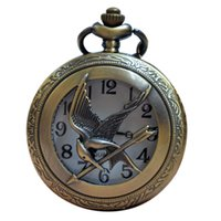 big bronze - 10pcs Mixed Christmas Bronze Quartz Antique Vine Hunger Game Mockingjay Big Pocket Watches with Pendant Necklace Chain