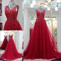 Cheap 2016 Elie Saab Real Image Formal Evening Dresses Deep V Neck Beading Red Tulle Long Prom Event Wears Special Occasion Gowns Custom Made